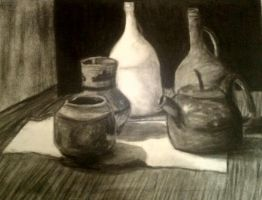 Charcoal Still Life by PaintedRoman