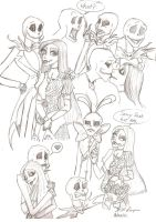Jack and Sally sketches 2 by Redhead-K