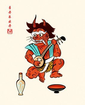 Otsu-e: oni (demon) playing a shamisen by sahua