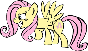 New Fluttershy - Colored With Black Lines by littlecolt