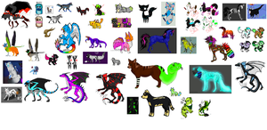 All Of My Adopted Adoptables So Far ^^ by mindlessmutt