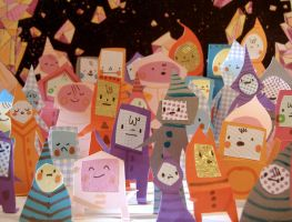Paper People Crowd by philippajudith