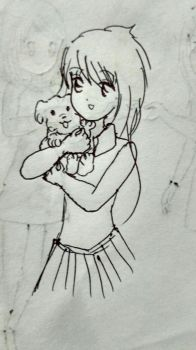 A girl with her puppy by sadiajalalsarda