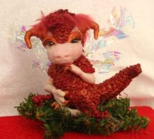 Crimson Holiday Fairy Dragon by gossamerfae
