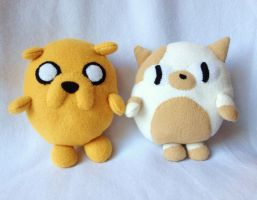 Cake and Jake Babies Adventure time plushies by XOFifi