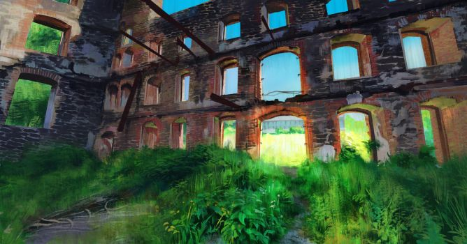 Abandoned Building Plein Air Study by CrimsonSword03