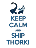 Keep Calm and Ship Thorki - Tee by Golubaja