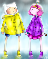 AT - Finn and PB Raincoats by HayaMika