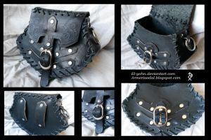 Black Leather pouch by El-Yohn
