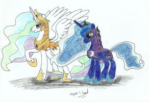 Armoured Princess Celestia and Princess Luna by UlyssesGrant