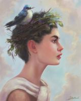 Portrait painting:Gazing by eyreart