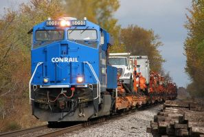 Conrail Heritage NS 8098 leads 924 Work train by EternalFlame1891