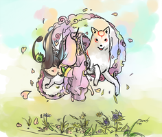 amaterasu and chibi sakuya by fo-dA
