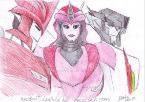 Knockout, Laurelin and Wheeljack by DarkAudi1728