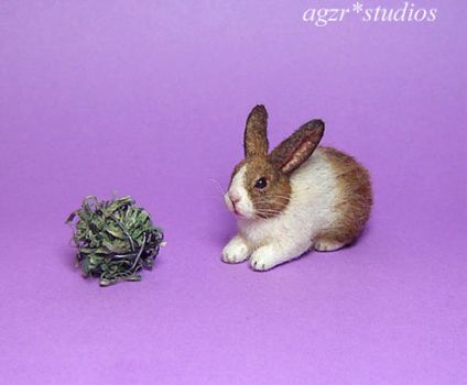Ooak 1:12 Handmade Miniature Dutch Rabbit furred by AGZR-STUDIOS