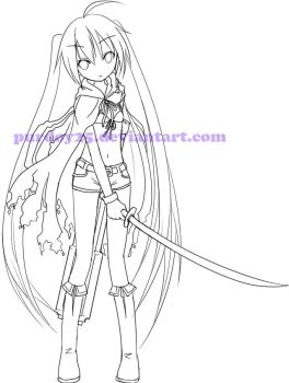 Black Rock Shooter Lineart by NickBeja