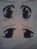 anime eyes on lined paper by mewnekochibi