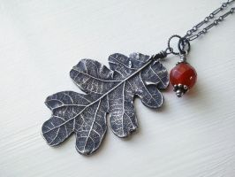 Silver Oak Leaf with Carnelian by QuintessentialArts