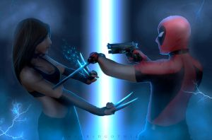 X-23 v Deadpool. by hybridgothica