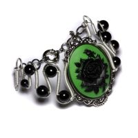 Steamgoth Green Rose Bracelet by CatherinetteRings