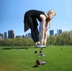 Stephanie Leigh Schlund stretching in Central Park by Maidenpool