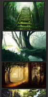 Speedpaint Dump: Environments by Aureta