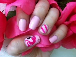Pastel Flamingo Nail Art by MissDaniLips