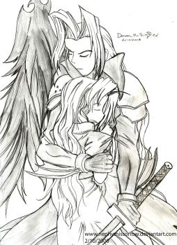 Aerith and Sephiroth by NephythisSorrow