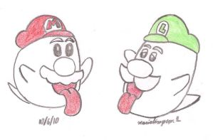 Boo Mario and Boo Luigi by MarioSimpson1