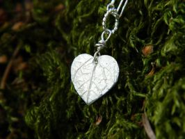 Tiny Heart Leaf - Fine Silver Pendant by QuintessentialArts