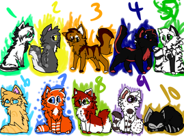 Warrior Cat Adoptables Batch 1 (Closed) by KitkatTheArtist