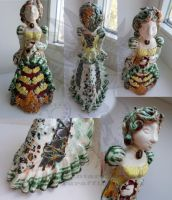 Ceramic clay lady in a dress by Drerika