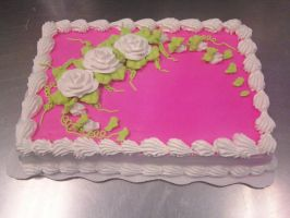 Pink with White Roses by AingelCakes