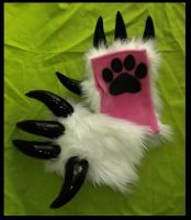Wrist White Monster Armwarmers by StuffItCreations