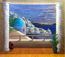 Santorini mural by SuzanneGayle