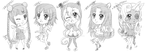 Chibi Sketches :D by SweetxSnowxDream