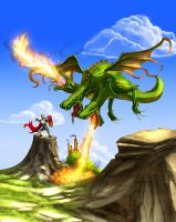 Dragon fight by hokic