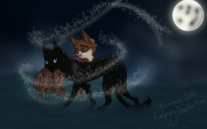 Leafpool and Crowfeather by 13lexwolf