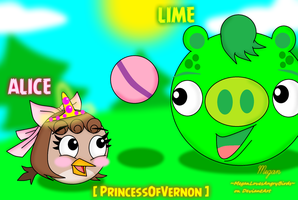 ~Art Trade~: Alice and Lime by MeganLovesAngryBirds