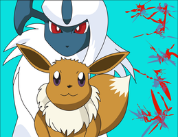 Absol and Eevee Pairing by DrTran08