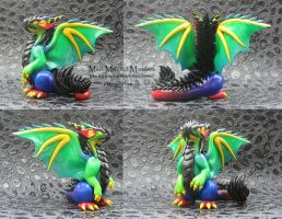 Rainbow Polymer Clay Dragon by MiniMythicalMonsters