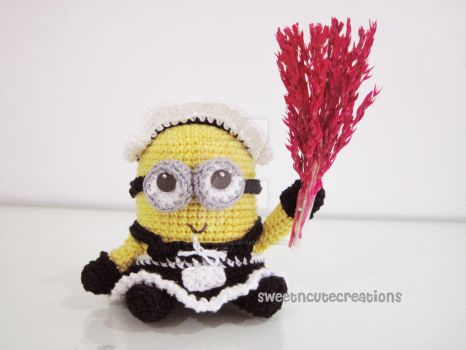 frenchie the 2 eyed minion in a french maid outfit by SNCxCreations