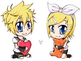 Kagamine Chibi Charms by AmyFawkes