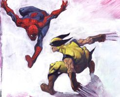 Wolverine vs. Spiderman by gryphta