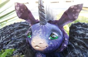 Close up of Midnight the poseable art doll by twyliteskyz