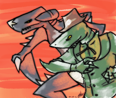 Sharks. Yes, Land-Sharks by Mossygator