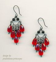 Red waterfall earrings by pralinkova-princezna