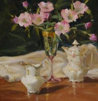 China and Primroses by Judy A. Crowe by OilPaintersofAmerica