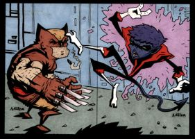 Nightcrawler VS Wolverine by soliton