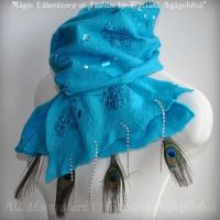 Turquoise Long Felt Scarf by TianaChe